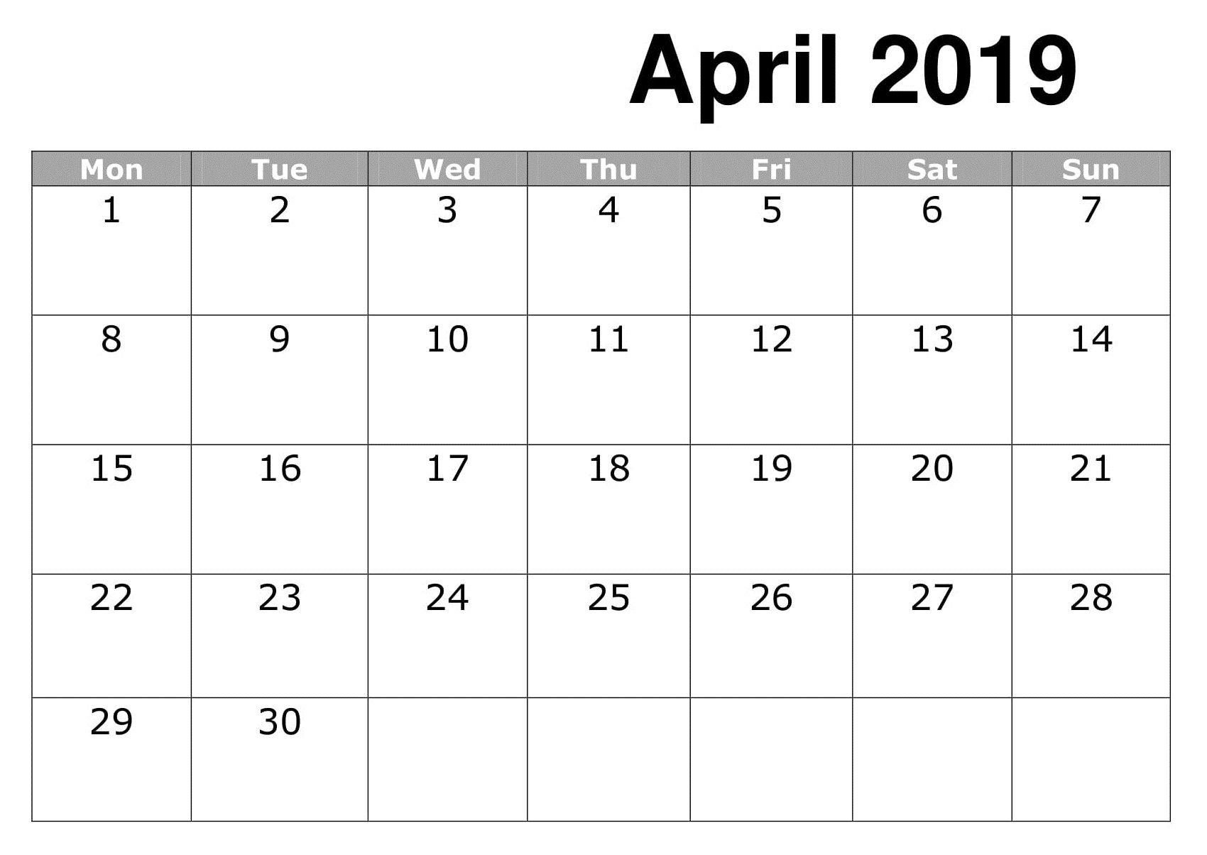 April 2019 Calendar Excel Excel Calendar 2019 Calendar