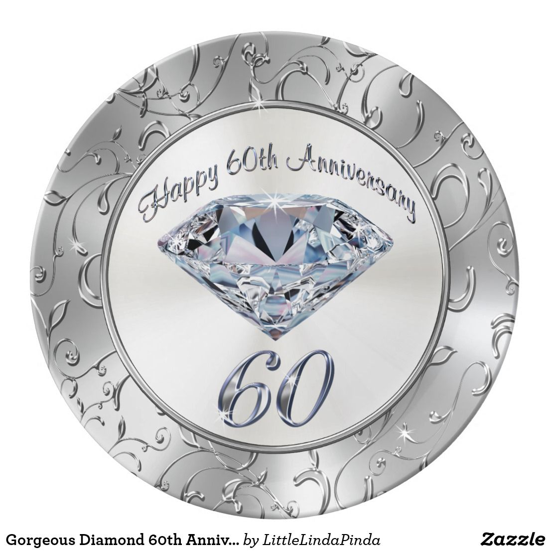 Gorgeous Diamond 60th Anniversary Plates Zazzle Com 60th