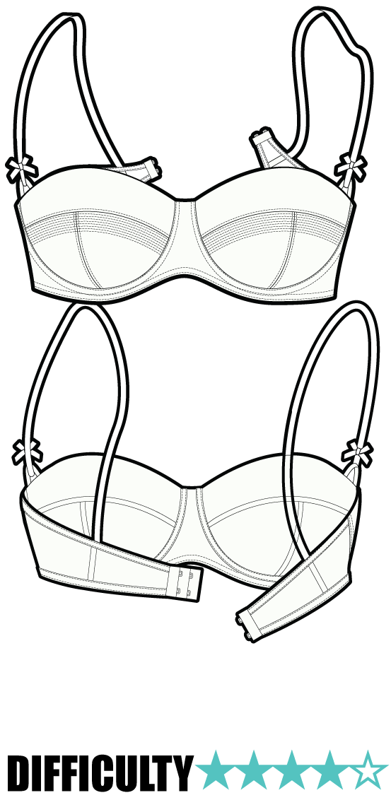 a simple  but perfect  bra pattern with a static material front and cup and an elasticated