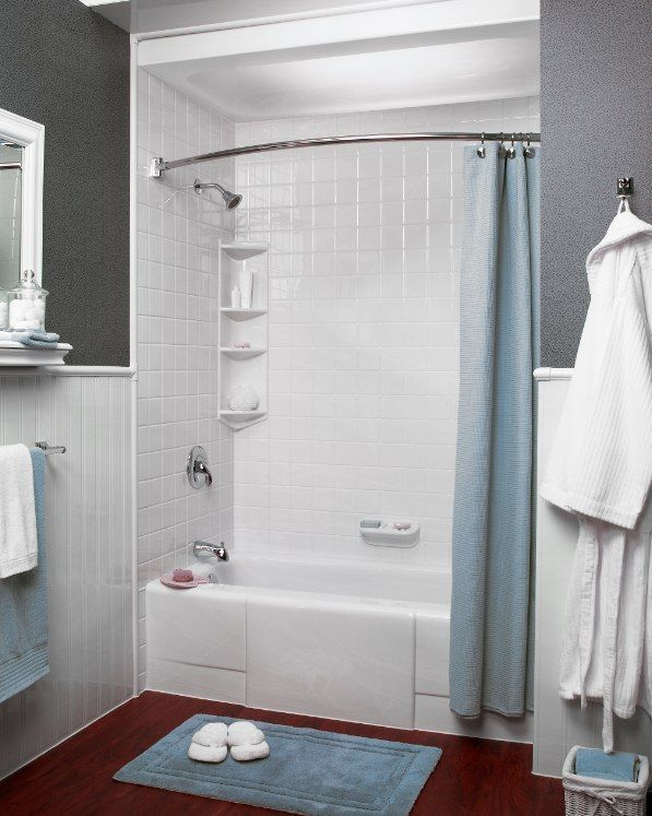 Simple Grey With Bath Fitter Tile Style Shower Remodel Shower Remodel Diy Small Shower Remodel