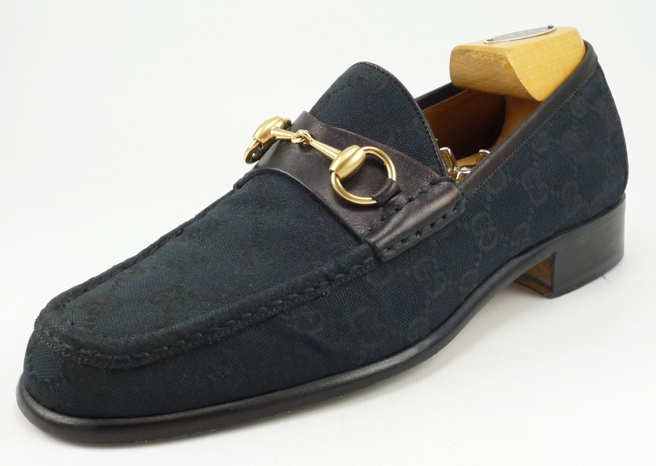 43afb4233f5 Gucci sz 7.5 GG Canvas Bit Loafers 015942 Mens Black fits US 7.5 ...