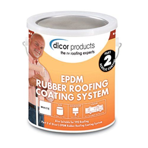 Dicor Rpcrc1 White Epdm Rubber Roof Coating 1 Gallon Dicor Rubber Roof Coating Roof Coating Rubber Roofing