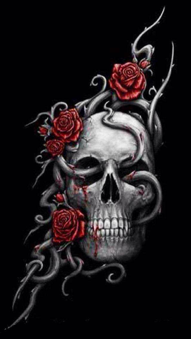 Skull W Roses Iphone Wallpaper In 2019 Skull Art Sugar