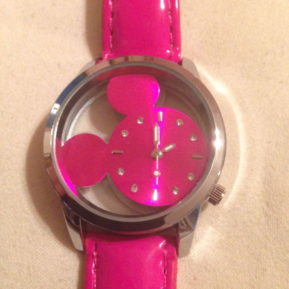 f035d610a93f New Silver   Hot Pink Transparent MICKEY MOUSE Watch  Unbranded  Fashion