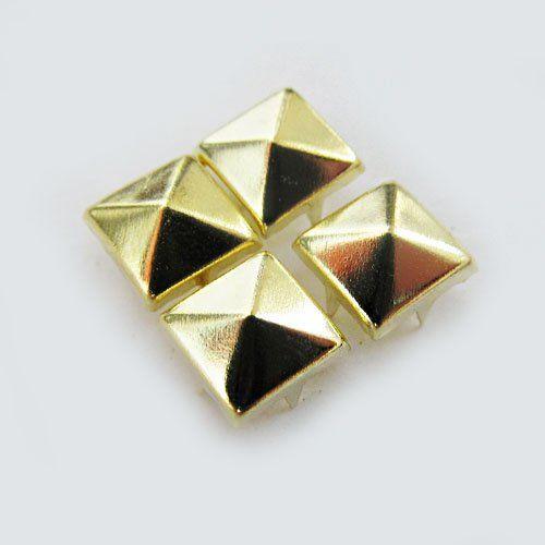 $5.99 Free shiping,100pcs/lot,8mm,Gold Pyramid Studs Spots Punk Rock Biker DIY Spikes Bag Shoes Bracelet Clothes