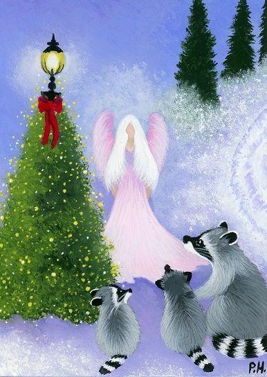ACEO, ORIGINAL, RACCOON, BABY, ANGEL, CHRISTMAS TREE, LAMP POST, BOW, SNOW #Realism