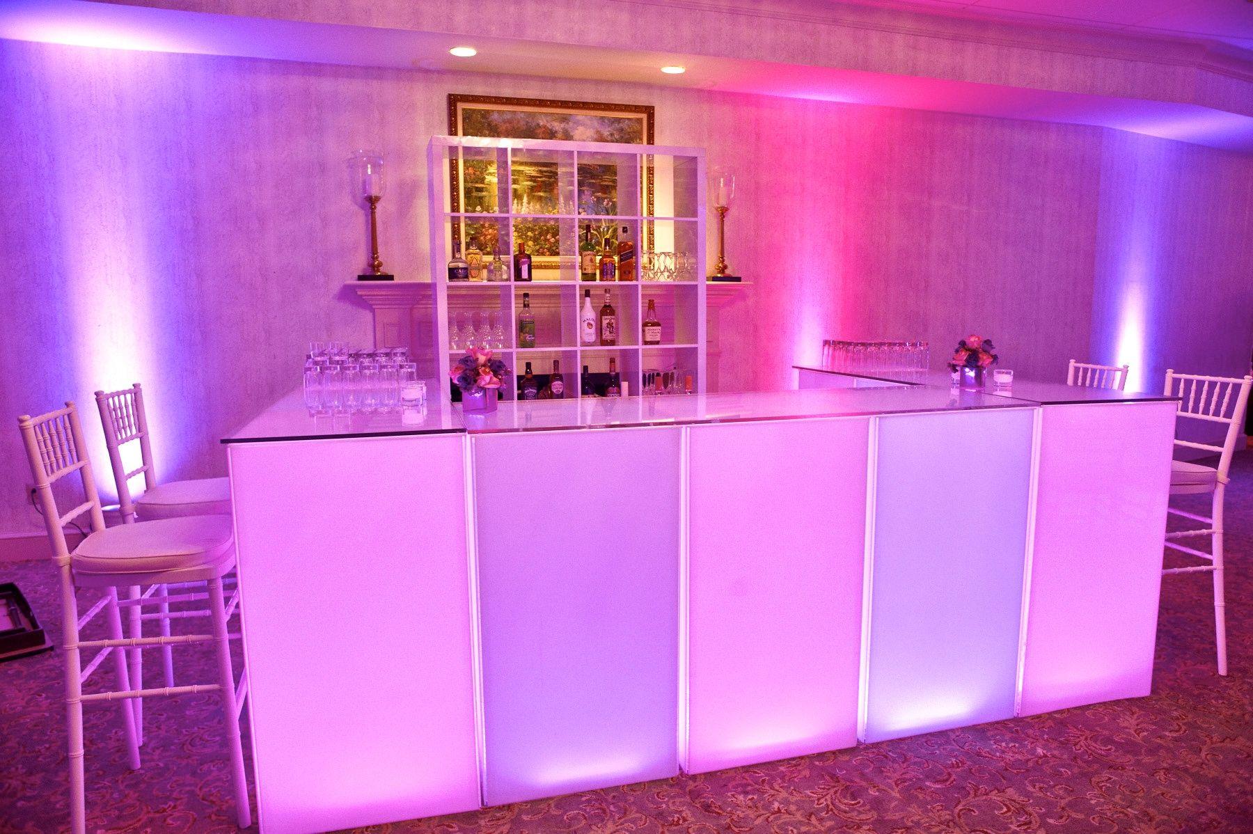 adult led bar w back shelves to display the liquor modern chic