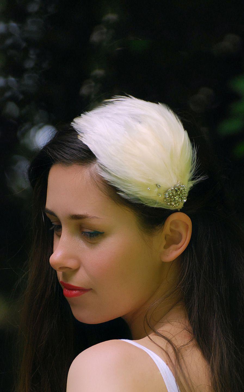 concepteur neuf et d'occasion techniques modernes Bons prix Voilette headband mariage avec plumes ivoire,bijoux tête ...