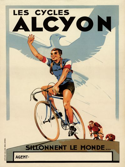 Les Cycles Alcyon Vintage French Bicycle Poster Print
