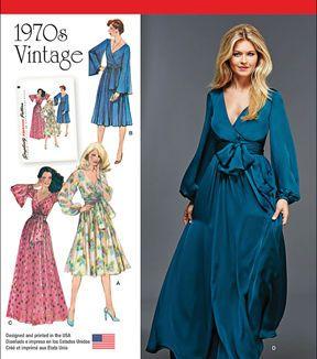 Simplicity Patterns Us8013H5-Simplicity Misses' Vintage 1970'S Dresses'-6-8-10-12-14 #wickelkleidmuster