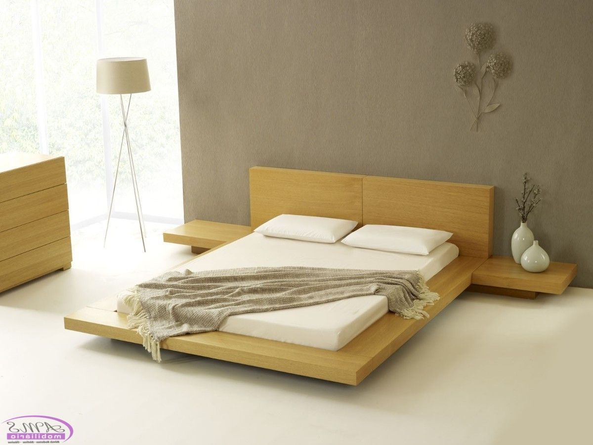 This Japanese style contemporary platform bed with a clean