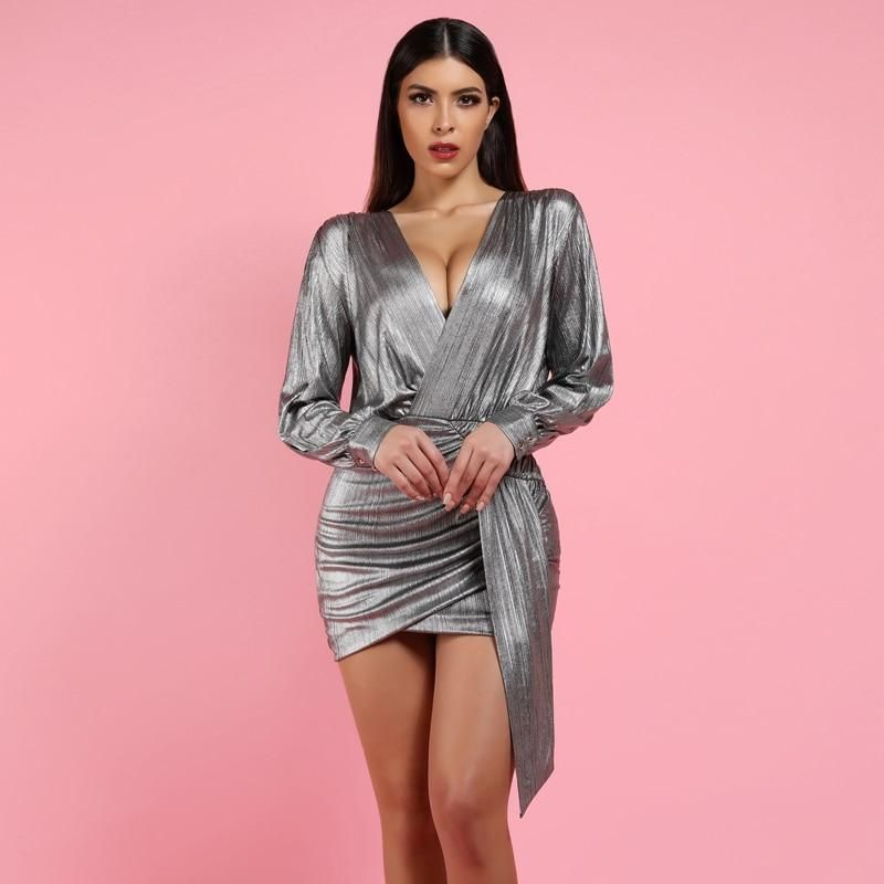 0f671fdf625c 'Alvona' Metallic Silver Drape Mini Dress | Fashion and Accessories |  Dresses, Silver metallic dress, Silver dress