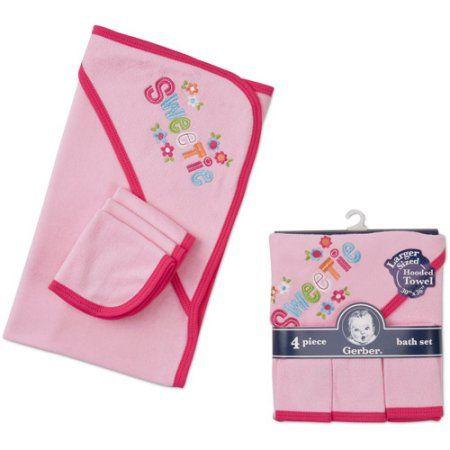 42dfdbcdecbe Gerber Newborn Girls' 4 Piece Hooded Towel and Washcloth Set, Pink ...