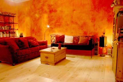Warm Living Room Walls With Orange