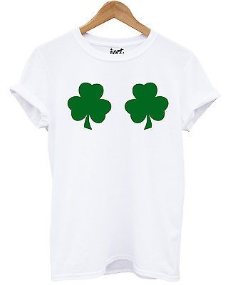 8fa1bbbec Shamrock Boobs T Shirt Leprechaun St Patrick s Day Funny Women Girl Joke  Irish