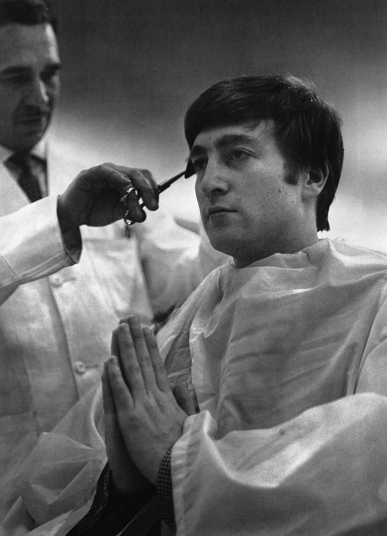 barber haircut vintage do the Beatles pray praying