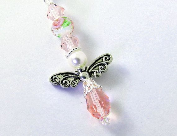 Pink Crystal Angel Car Charm with Pink Rose Lamp- Work Bead by CarCharmShop