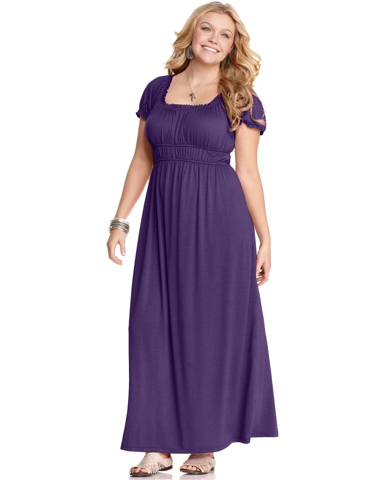 Love Squared Plus Size Dress, Short Sleeve Empire Maxi - Plus Size ...