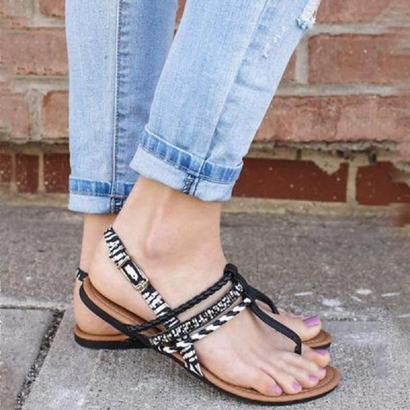 50e12f01a4db70 FLAT WITH BUCKLE THONG CASUAL SANDALS  Sandals  Leatrend