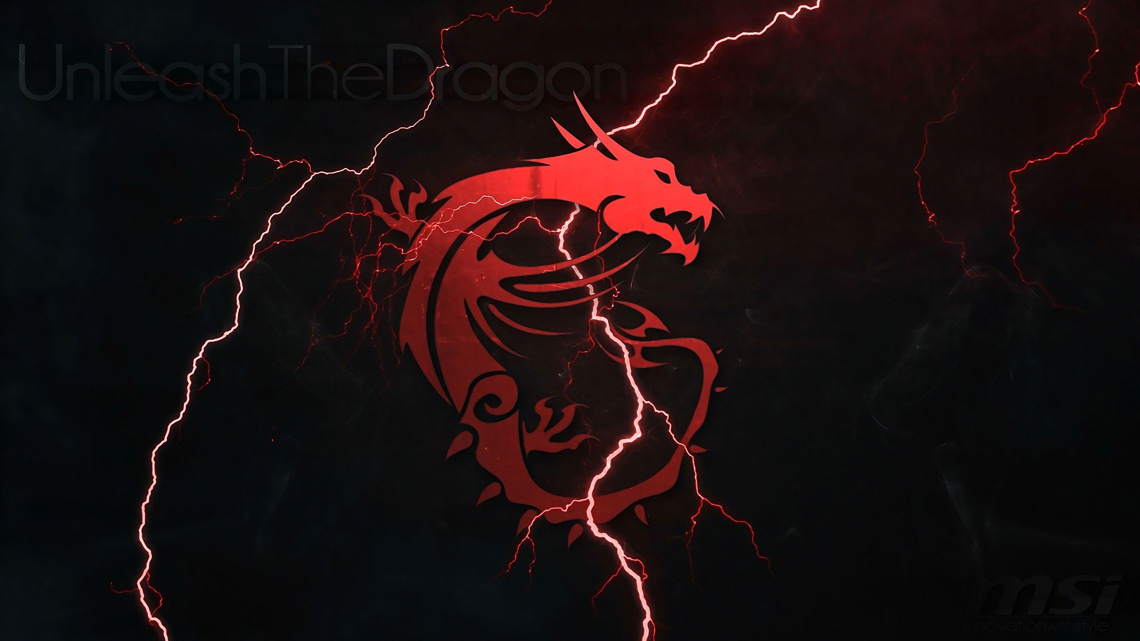 Msi Dragon Logo Lightning 4k Wallpaper In 2019 Dark