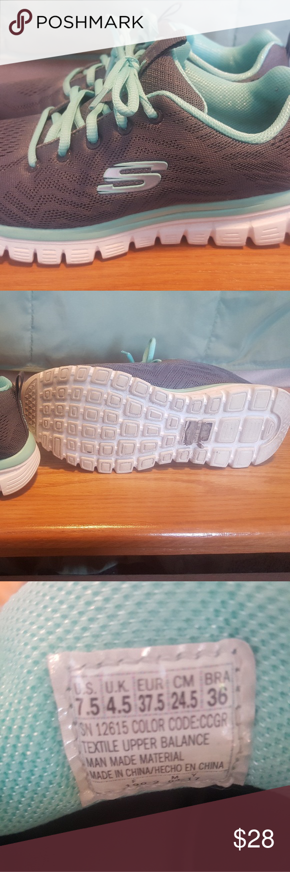 paso María Suposición  Sketches Memory Foam Athletic Shoes Barely worn, Size 7.5, Grey Shoe with  Mint Green - Really nice shoe!! Too small f… (With images) | Athletic  shoes, Grey shoes, Skechers shoes