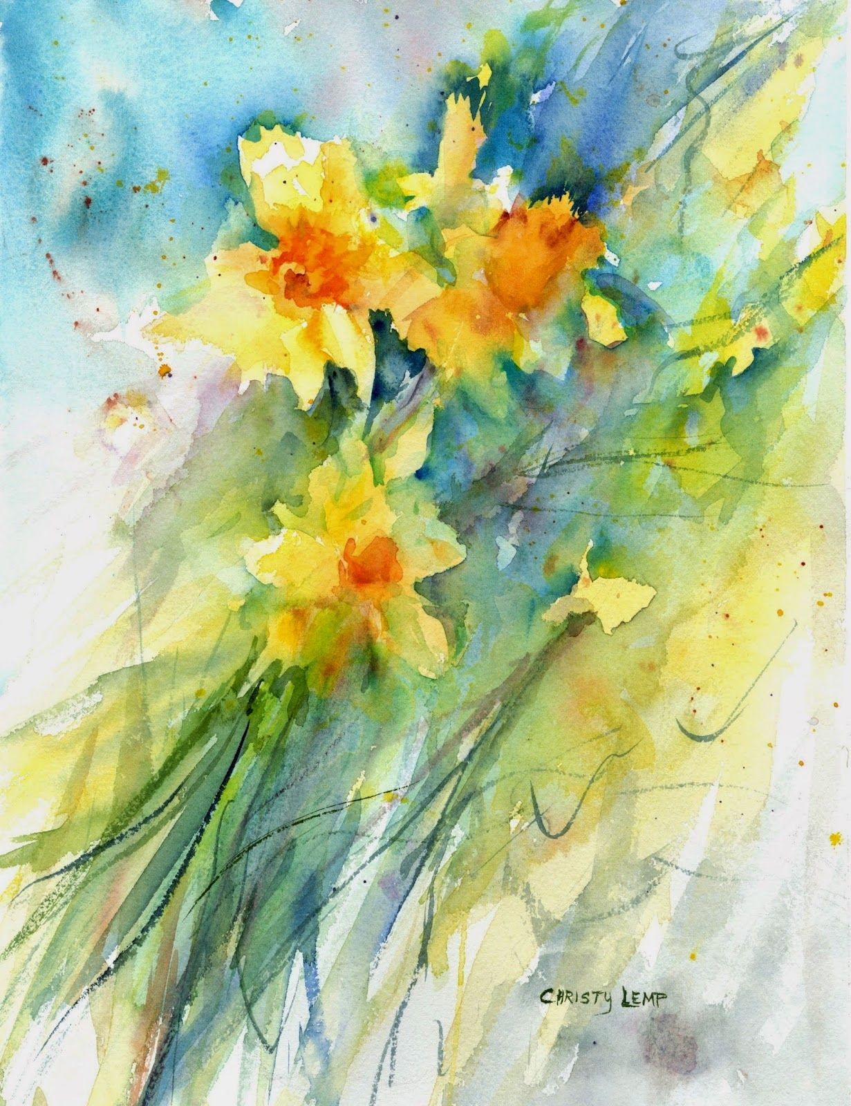 Christy Lemp Watercolor Aquarelle Fleurs Aquarelle Florale