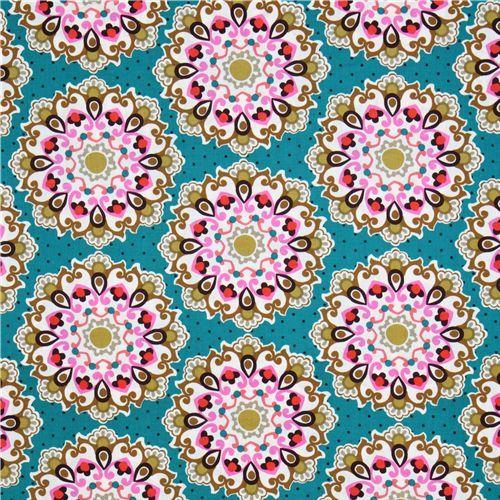 Michael Miller fabric teal blue-green Emmaline mandala