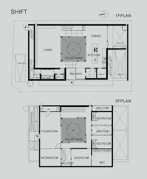 Shift5 Architecture Modern Japanese Courtyard Home Courtyard House Plans Courtyard House Floor Plans