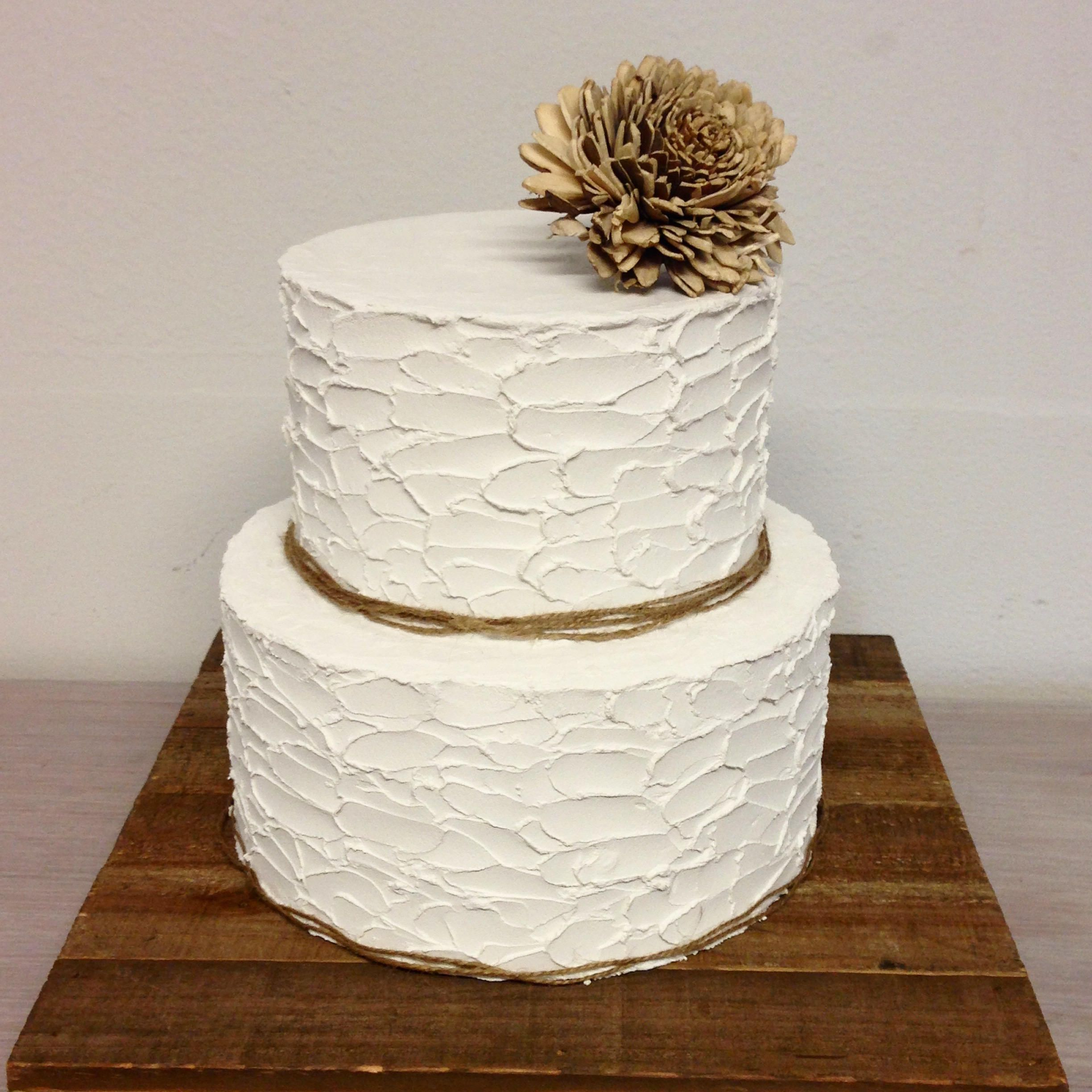 Very rustic cake. Rustic cake. Two tier cake. Non edible materials ...