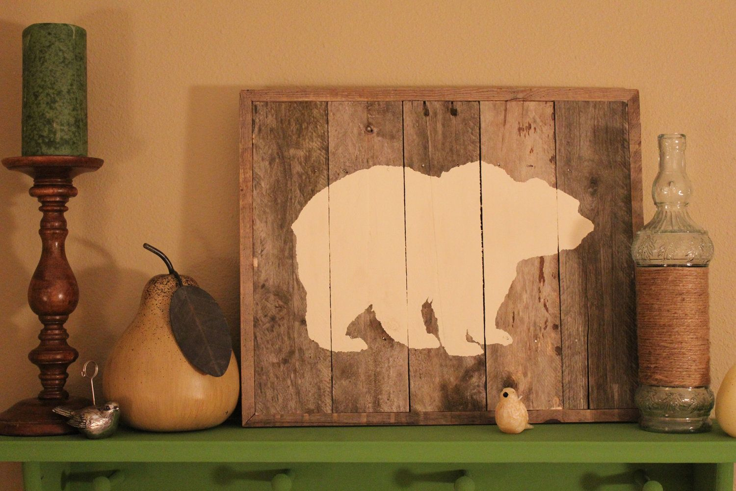 Bear Reclaimed Wood Wall Art - love this in a boy\'s room   little ...