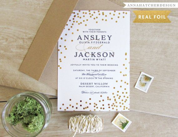 Gold Foil Wedding Invitations \/ Confetti in Gold, Silver or Rose - ivory resume paper