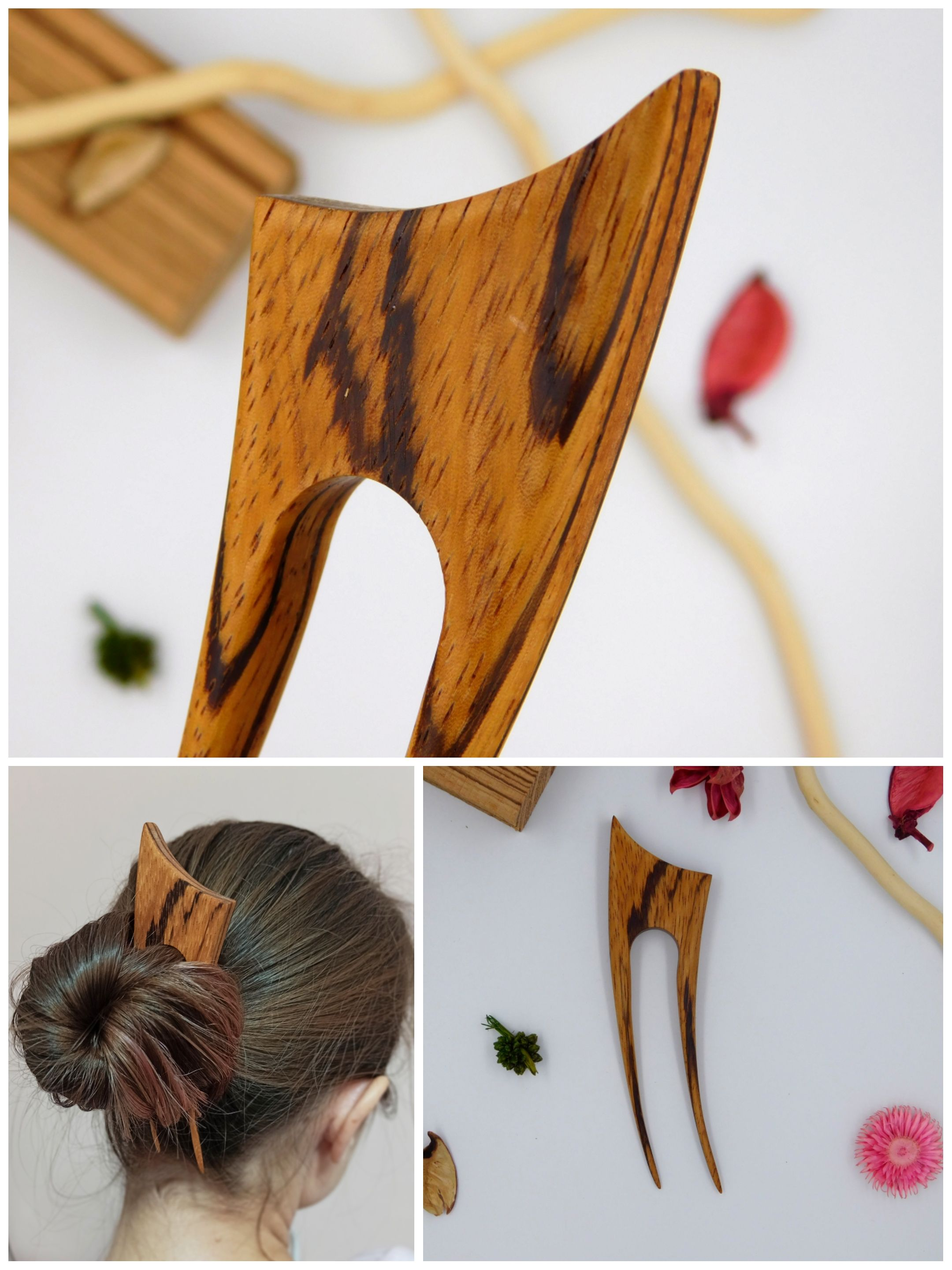 I made wooden hair fork crescent moon. hair beauty