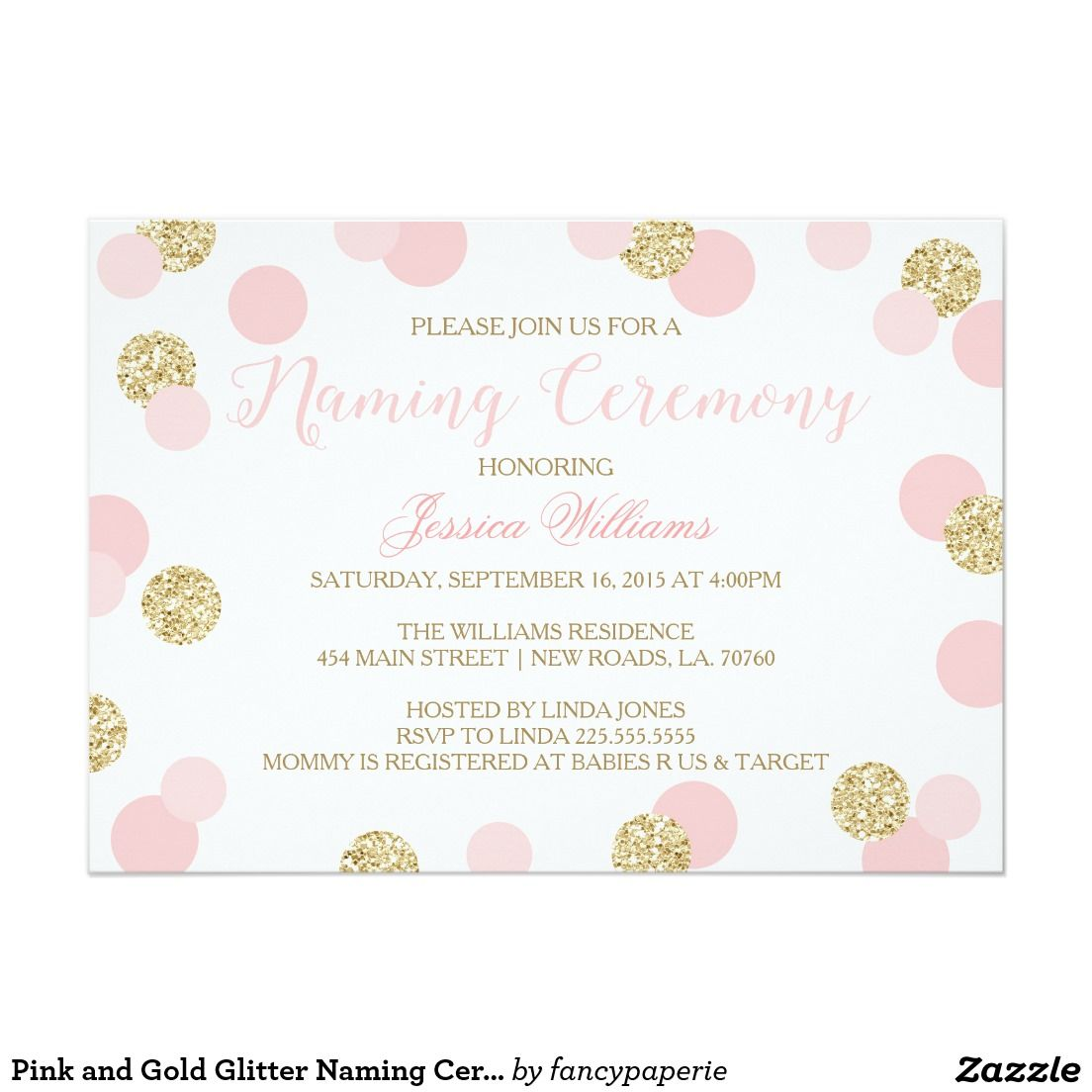 Pink And Gold Glitter Naming Ceremony Invites  Naming Ceremony