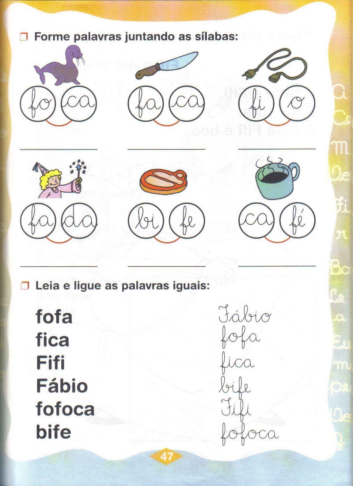 Silabas Simples Fa Fe Fi Fo Fu Com Imagens Atividades De