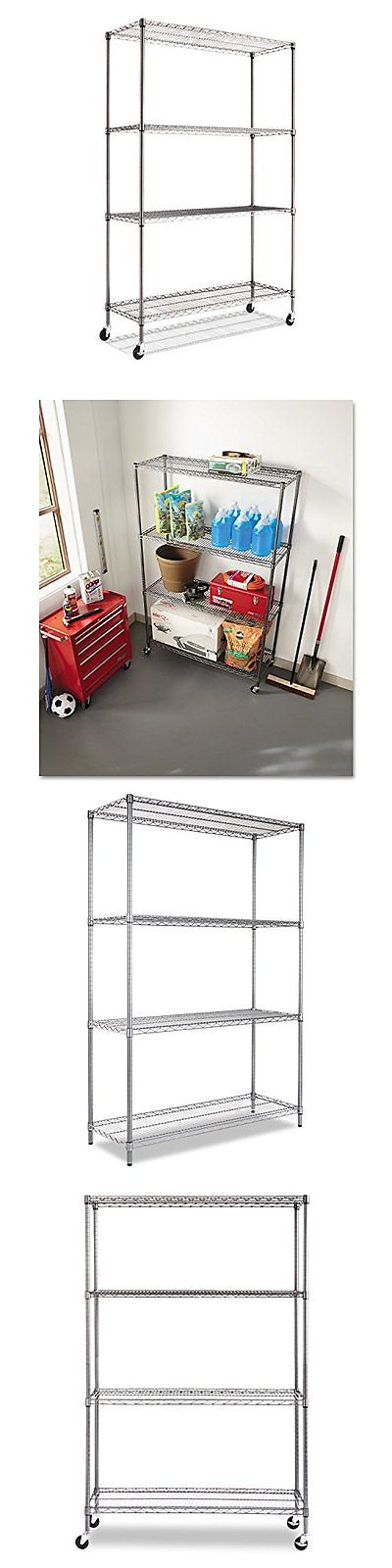Shelves 134649: Alera Complete Wire Shelving Unit With Caster Black ...