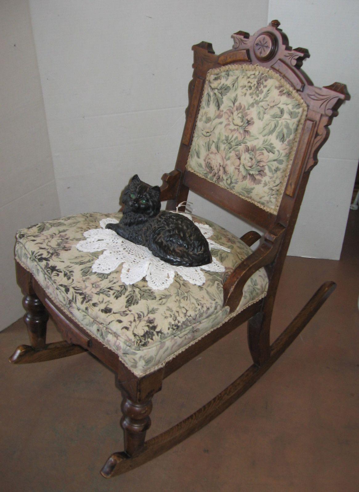 Petite antique Eastlake rocking chair, Victorian ladies' sewing or nursing  chair. - Petite Antique Eastlake Rocking Chair, Victorian Ladies' Sewing Or