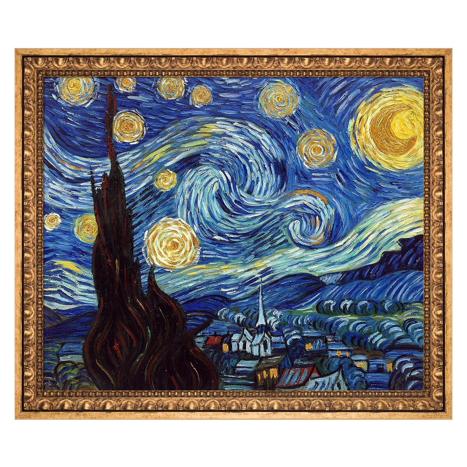 La Pastiche Starry Night By Vincent Van Gogh Framed Hand Painted Oil On Canvas Wayfair Starry Night Painting Starry Night Van Gogh Night Painting