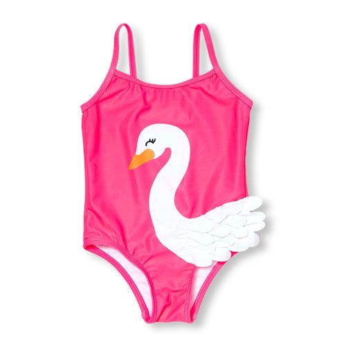 35263ffd81a Baby Girls Toddler 3D Ruffle Swan One-Piece Swimsuit - Pink - The  Children's Place