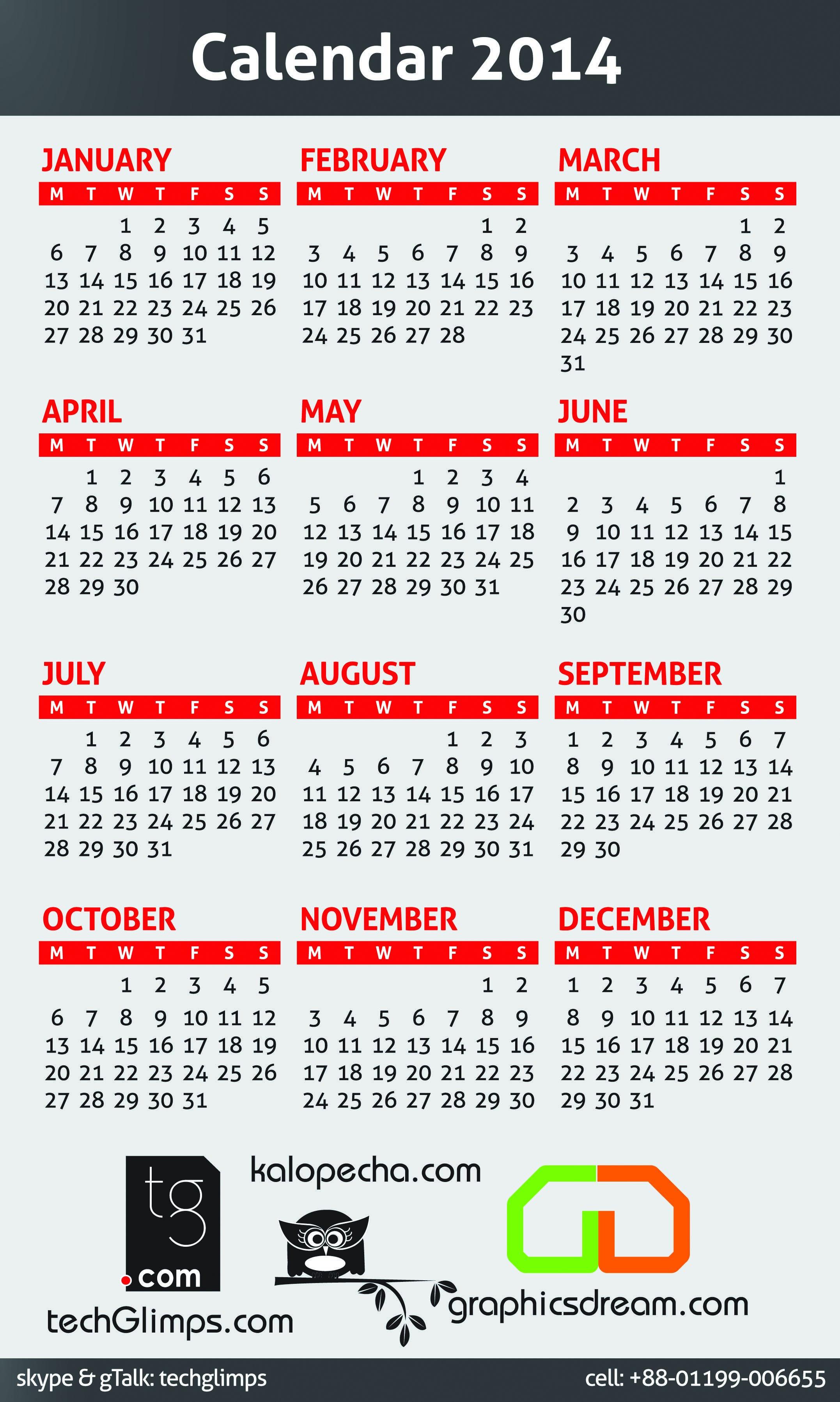 22inch X 36 inch PVC Calendar Design Adobe Illustrator CS 5 & Photoshop 7