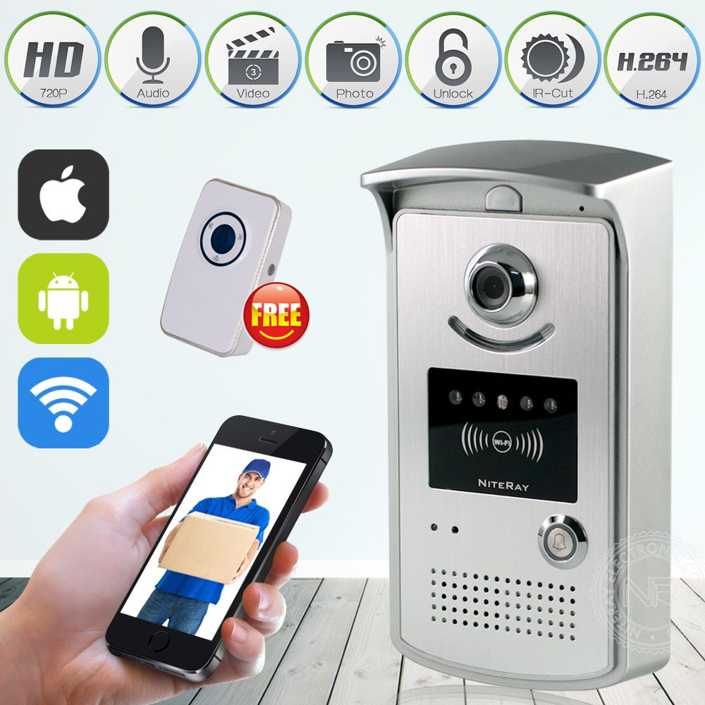 Wifi Smart Video Doorphone 1 0mp Hd 720p Ip Camera Wireless Video Intercom System Waterproof Iphone Android App Mo Android Remote Wifi Doorbell Doorbell Camera