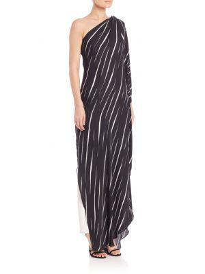 2175c56dd38c2 HALSTON HERITAGE Stripe One-Shoulder Asymmetrical Gown. #halstonheritage  #cloth #gown