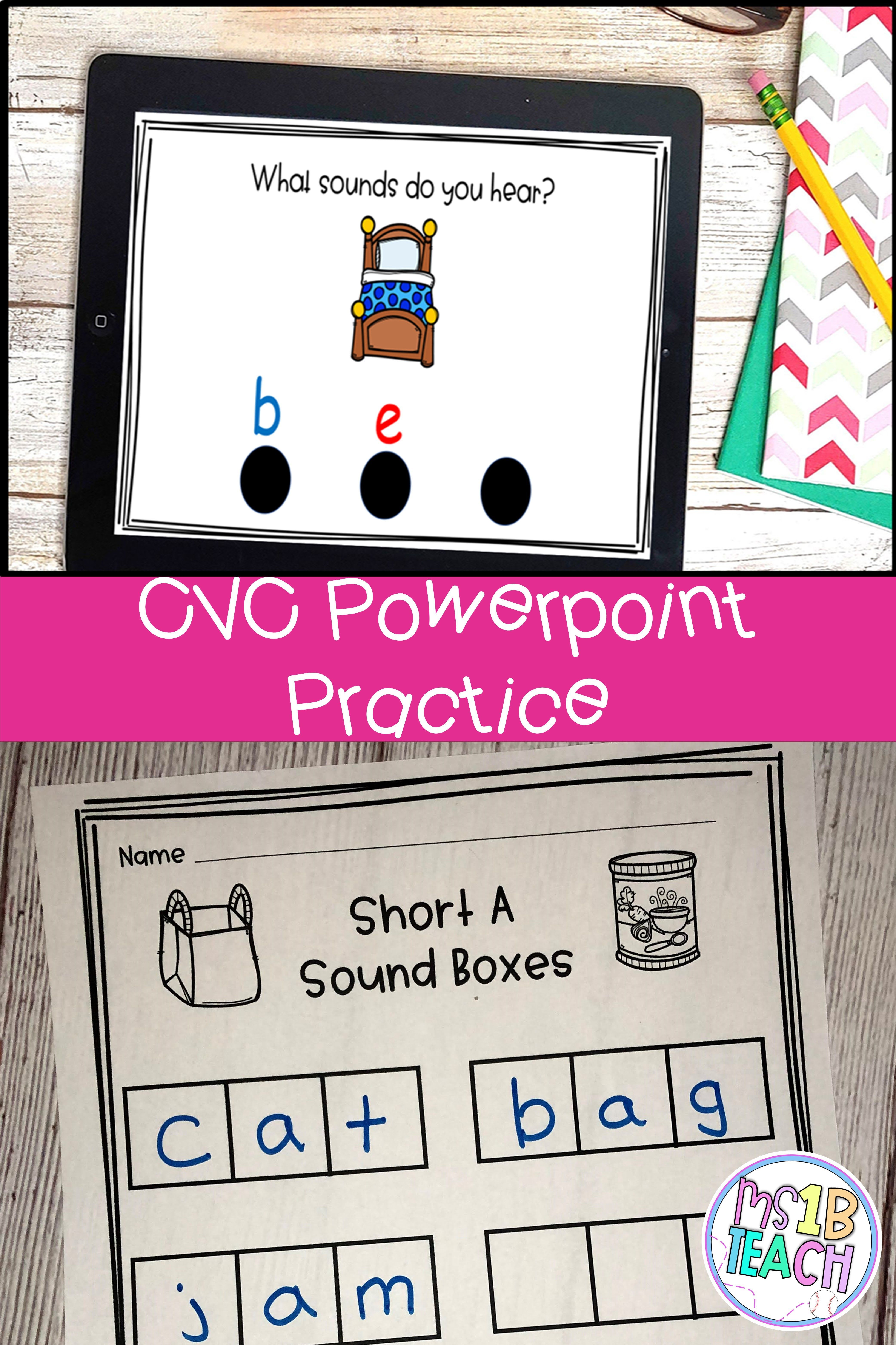 Cvc Practice Activity With Powerpoint Cvc Words Cvc Sound Boxes Activities