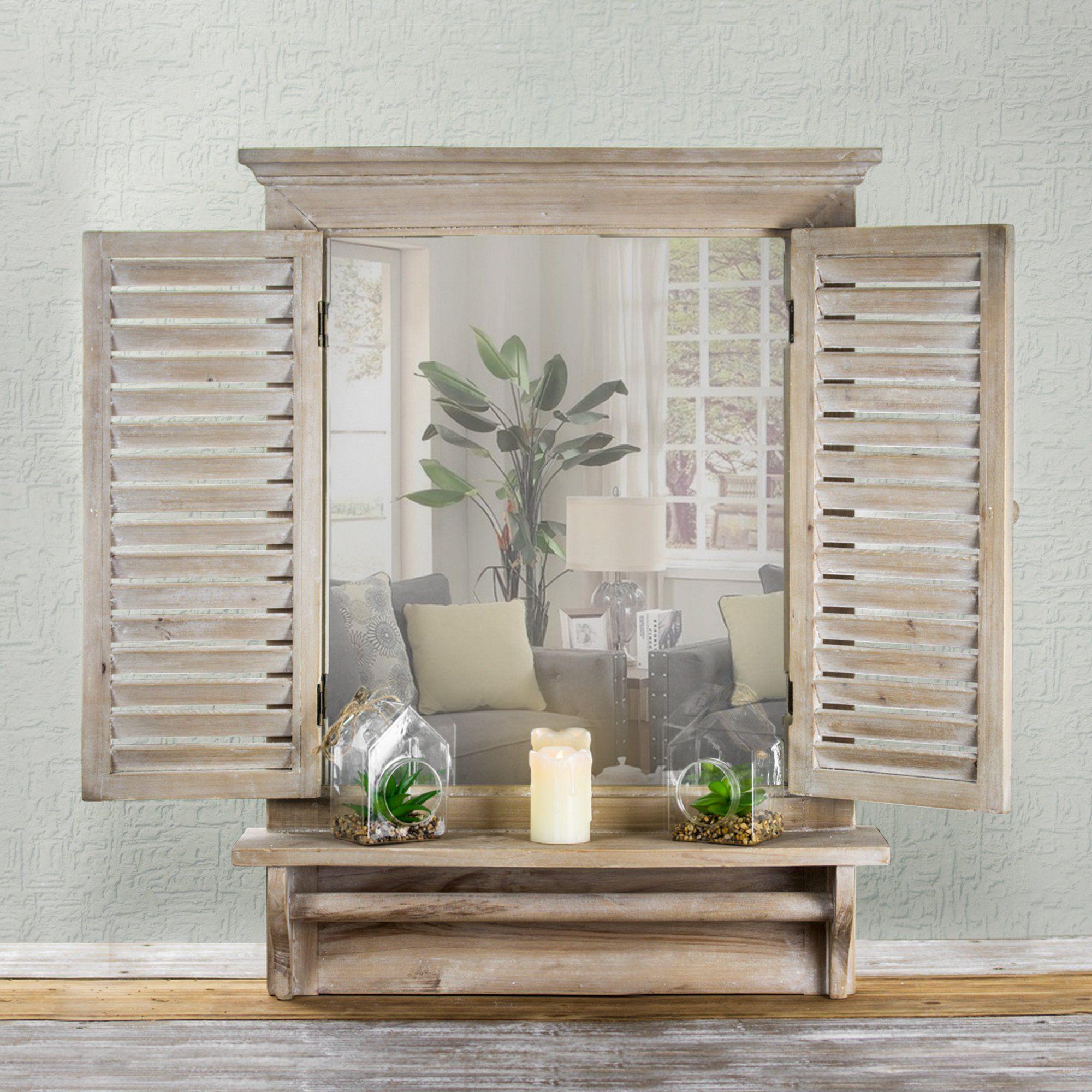 Crystal Art Window Shutter Vanity Wall Mirror W/Shelf and