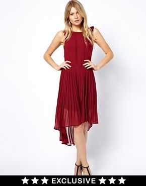 Image 1 ofOasis Frill And Tuck Midi Dress