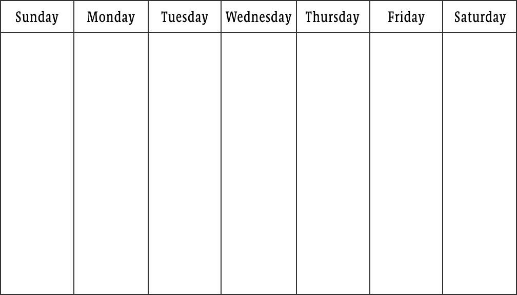 A work week in Israel is Sunday through Thursday for a 5 day week or - monday to sunday schedule template