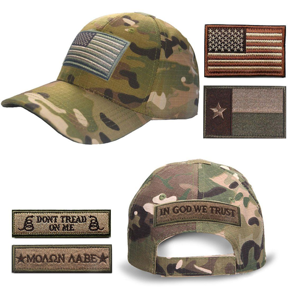 Lightbird Tactical Cap Adjustable Hunting Hat and 6 Pieces Tactical Flag  Morale Patches with Velcro -- See this great product.(It is Amazon  affiliate link) ... 64d85556e405