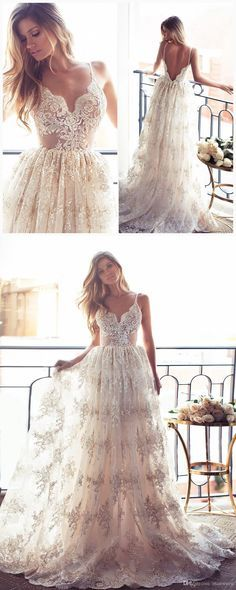 Romantic A-line Strapless Long Lace Wedding Dress from modsele