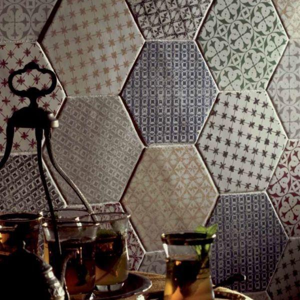 hexagon marrakech gris mosaico 15x15 cm carrelage hexagonal de cuisine au bords irr guliers. Black Bedroom Furniture Sets. Home Design Ideas