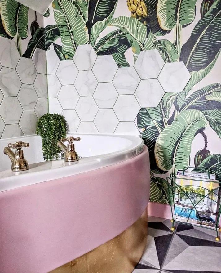77 Beautiful Botany Amazonia Ceramic Tiles In 2020 Boho Bathroom Bathroom Wallpaper Minimalist Bathroom