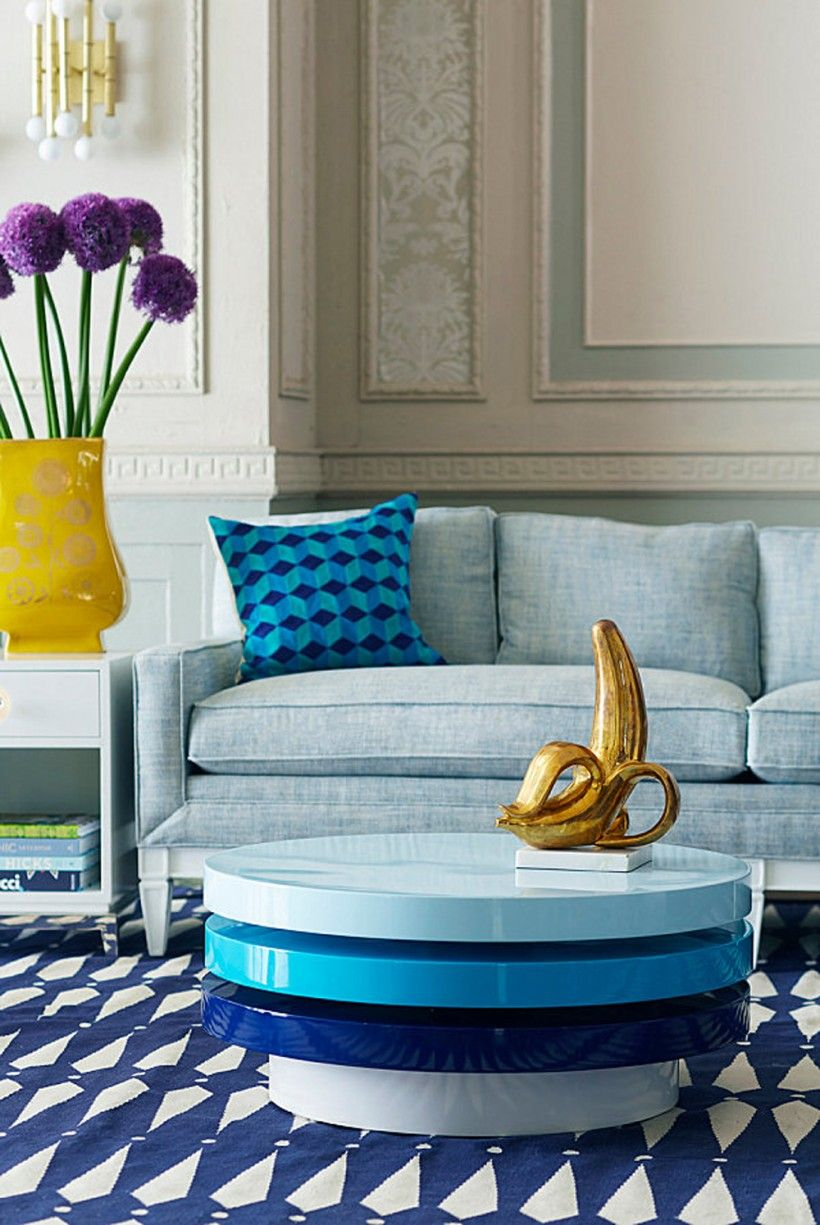 Furniture Swiveled Blue Round Coffee Tables From Jonathan Adler